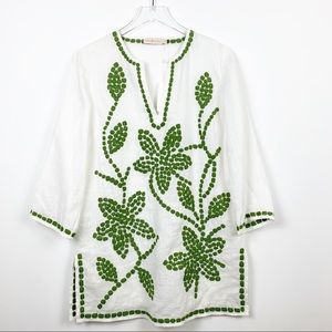 Tory Burch | Linen White Tunic Green Embroidery